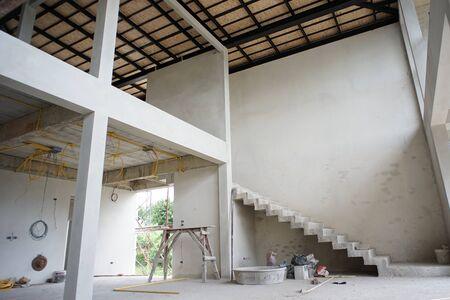 Perspective interior modern design of house under construction. Zdjęcie Seryjne