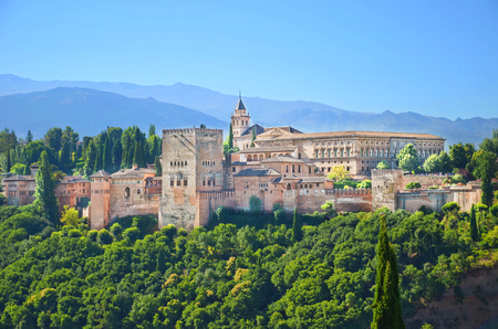 Amazing view of Alhambra palace complex in Granada, Spain taken on a sunny day.  significant sample of Islamic architecture and one of Spain's major tourist attractions. Editorial