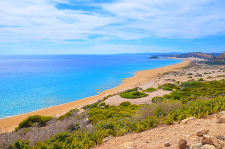 Amazing view of the Golden Beach in Karpas Peninsula, Turkish Northern Cyprus taken on a sunny summer day. One of the most beautiful Cypriot beaches is an amazing off the beaten track spot.