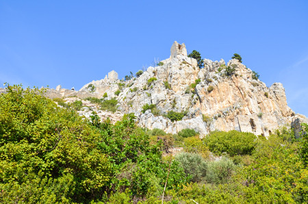 Historic St Hilarion Castle in Kyrenia region, Cyprus. The ancient fortress from 10th century is located on the top of Kyrenia mountain range. Popular tourist attraction.