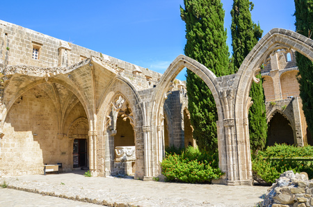 Bellapais, Cyprus - Oct 4th 2018: Ruins of historical Bellapais Abbey with ancient walls and arches. The medieval monastery is located in the Turkish part of the beautiful island. Redakční