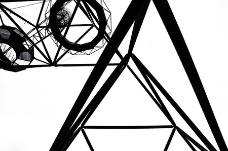 Beautiful black and white photography of steel construction of the Tetrahedron in German Bottrop taken from a different perspective. The unique design is reminiscent of the Sierpinski tetrix. Stock Photo