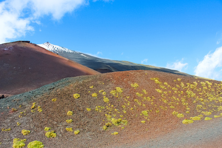 Beautiful view of the top of Mount Etna in Sicily, Italy surrounded by volcanic landscape. Snow on the very top of the mountain. Taken on a sunny day with blue sky.