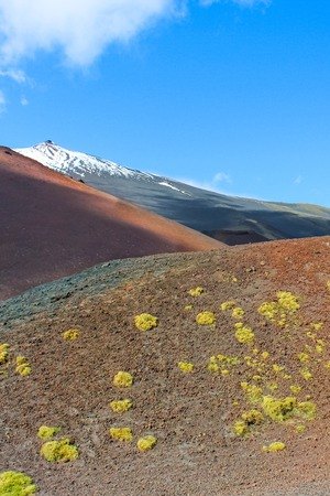 Amazing volcanic landscape of Silvestri craters on the Mount Etna, Sicily, Italy captured on a vertical photography with blue sky. Popular tourist attraction.