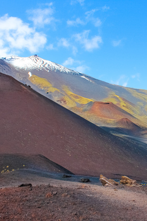 Beautiful view of Mount Etna surrounded by damaged volcanic landscape. Captured on a vertical picture from Silvestri craters. European highest active volcano. Tourist spot. Banco de Imagens