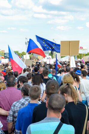 Prague, Czech Republic - June 23 2019: Crowd of people protests against Prime Minister Babis and Minister of Justice on Letna, Letenska plan. Demonstration calling for resignation. Protest, democracy. Редакционное