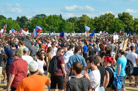 Prague, Czech Republic - June 23 2019: Crowd of people protests against Prime Minister Babis and Minister of Justice on Letna, Letenska plan. Demonstration calling for resignation. Protest, democracy. Éditoriale