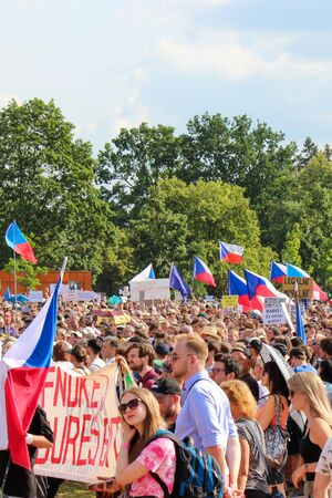 Prague, Czech Republic - June 23 2019: Crowd of people protests against Prime Minister Babis and Minister of Justice on Letna, Letenska plan. Demonstration calling for resignation. Democracy, protest.