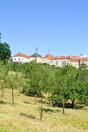 Historical houses on Petrin hill surrounded by beautiful green park. Czech capital Prague, Bohemia, Czech Republic, Europe. Popular tourist place and view point. Praha, Czech Republic. 版權商用圖片