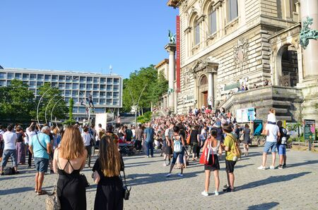 Lausanne, Switzerland - July 9th 2019: Festival de la Cite in streets of Swiss city. Traditional cultural event with concerts, theatre, dance, visual arts or circus. Up to 100,000 visitors in 6 days.