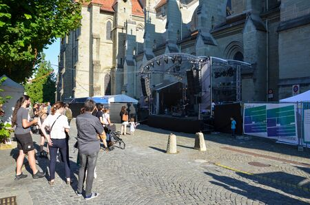 Lausanne, Switzerland - July 9th 2019: Festival de la Cite in streets of Swiss city. Traditional cultural event with concerts, theatre, dance, visual arts or circus. Up to 100,000 visitors in 6 days Editorial