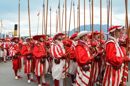 Vevey, Switzerland - Aug 1 2019: Traditional parade on Swiss National Day. National holiday of Switzerland, set on 1st August. Celebration of the founding of the Swiss Confederacy. Independence day. Editorial