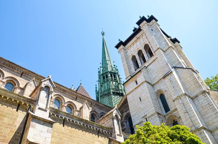 Exterior of St. Pierre Cathedral in Geneva, Switzerland. Built as Roman Catholic cathedral, but became Reformed Protestant Church church during the Reformation. Adopted home church of John Calvin.
