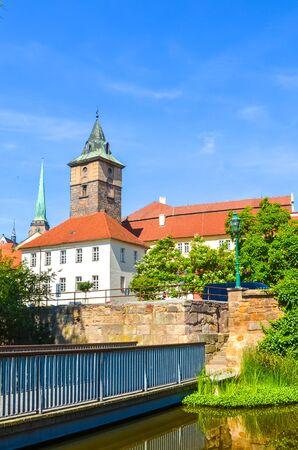 Vertical photo of Pilsen, Western Bohemia, Czech Republic with dominant Water Tower, Vodarenska vez in Czech, photographed from the park by Mlynska Strouha. Plzen city, Czechia. Tourist attraction. 版權商用圖片