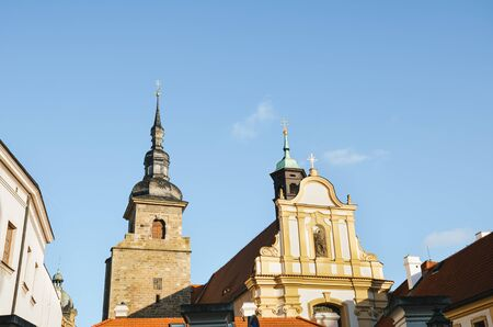 Beautiful Franciscan Monastery in Pilsen, Czech Republic with light blue sky in background. The church and monastery are among the towns oldest houses. Historical center in Plzen, Bohemia, Czechia.
