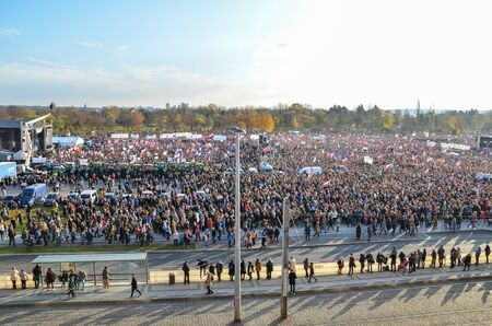 Prague, Czech Republic - Nov 16, 2019: Crowd protests against Prime Minister Babis and Minister of Justice on Letna, Letenska plan. The 30th anniversary of the fall of communism, up to 300k people. 報道画像