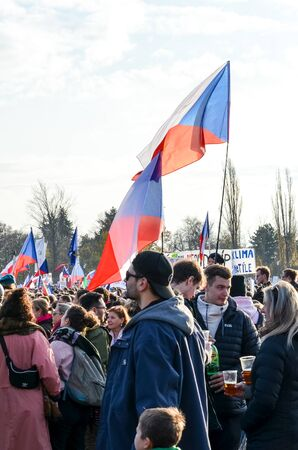 Prague, Czech Republic - Nov 16, 2019: Crowd protests against Prime Minister Babis and Minister of Justice on Letna, Letenska plan. The 30th anniversary of the fall of communism, up to 300k people. Редакционное