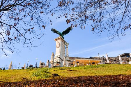 Budapest, Hungary - Nov 6, 2019: Statue of the Turul bird on the Royal Castle. Mythological bird of prey mostly depicted as a hawk or falcon in Hungarian traditions. The national symbol of Hungarians.