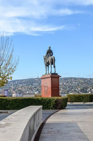 Budapest, Hungary - Nov 6, 2019: Park near Buda Castle with a horseman statue of Artur Gorgei, spelled Gorgey sometimes. Hungarian military leader, general of the Hungarian Revolutionary Army.