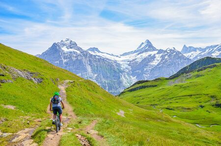 Mountain biker riding downhill the beautiful summer Alpine landscape. Snowcapped mountains in the background. Photographed on the trail from Grindelwald to Bachalpsee. Active vacation.