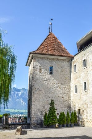 Thun, Switzerland - August 8, 2019: Inner courtyard of the Gothic style Thun Castle. 12th-century castle is a Swiss heritage site of national significance. Tourist landmarks. Historic architecture.
