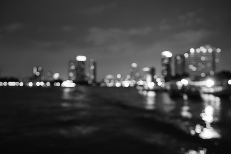 riverfront: Abstract bokeh lights from  Asiatique the Riverfront, Blurred , thailand,blackandwhite