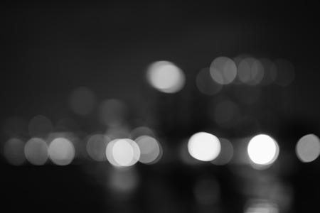 Night city abstract bokeh background,black and white.