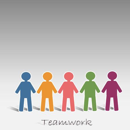 pink green: Trabajo en equipo con el azul rosa amarilla gente verde violeta Vectores