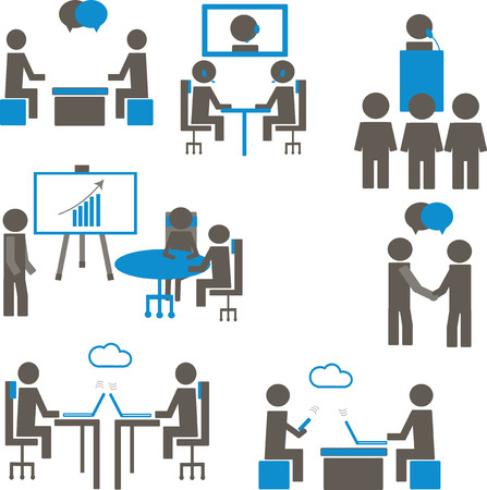 共同作業空間の人々  イラスト・ベクター素材