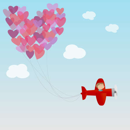 male on the air plane and heart air balloon Vector