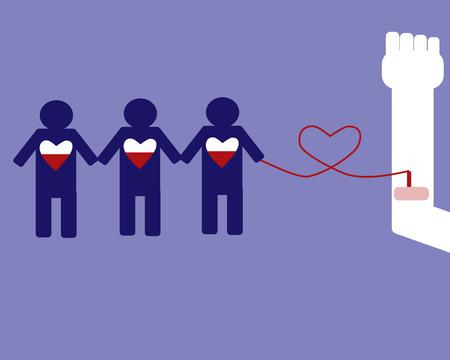 Donatore di sangue può sicuri 3 persone Archivio Fotografico - 36774718