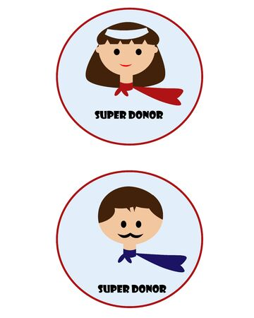 donor: Insignia de Super donantes para la donaci�n de sangre Vectores