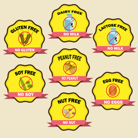 food allergy badges Vector