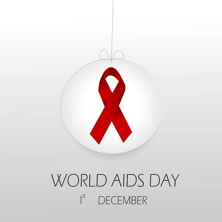 world aids day with red ribbon Vector