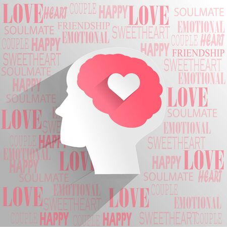 love concepts: Human brain with love emotion thinking