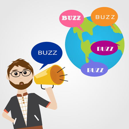 word of mouth: Hipster man in digital marketing concept Buzz word of mouth