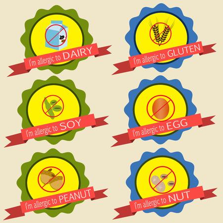 Food allergy badges vintage style Illustration