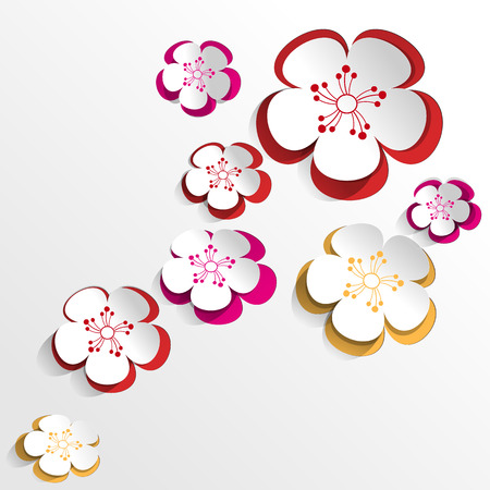 cut flowers: Colorful flowers Background in Paper Cut Style Illustration