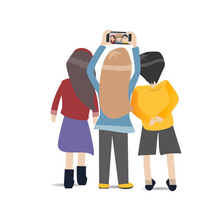 Three People selfie together with smartphone
