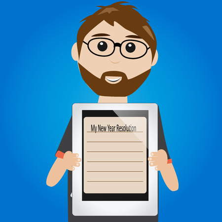 resolution: Hipster man with new year resolution on tablet Illustration