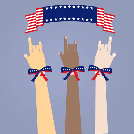 many colored peoples hands with USAs flag color ribbons on blue background