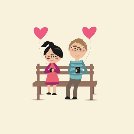 enamorados caricatura: Los amantes se sientan en la silla y se utilizan sus smartphones