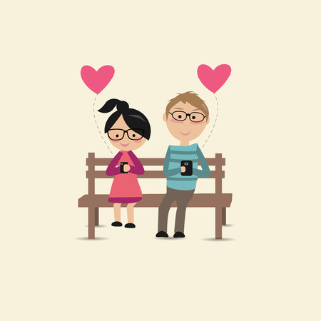 lovers: lovers sit on the chair and use their smartphones Illustration