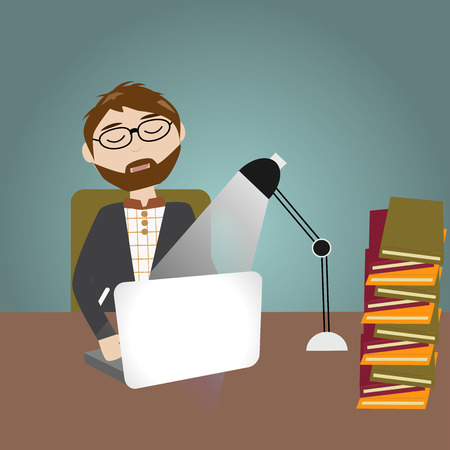 sleepy man: Hipster man have a lot of work and feeling sleepy and work over night Illustration