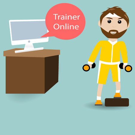 webbing: Male are training fitness with Trainer Online