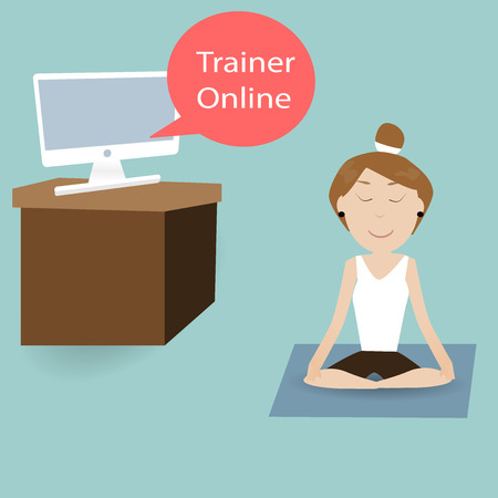 webbing: female are training fitness with Trainer Online