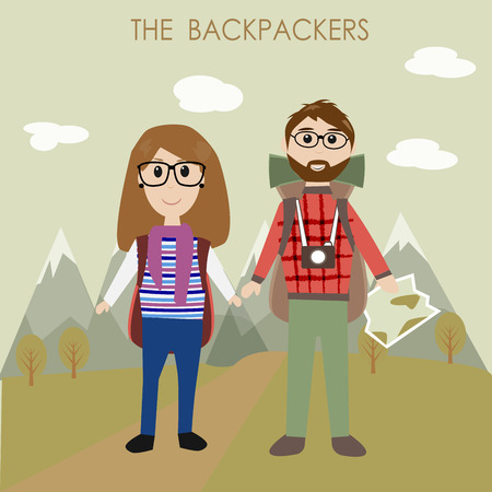 couple hiking: The couple backpackers Illustration