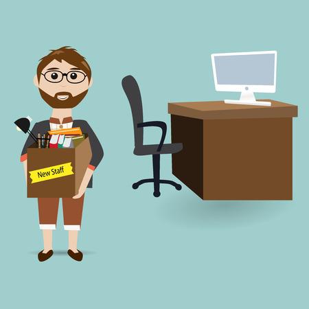nieuwe werknemer in het kantoor voor nieuwe baan