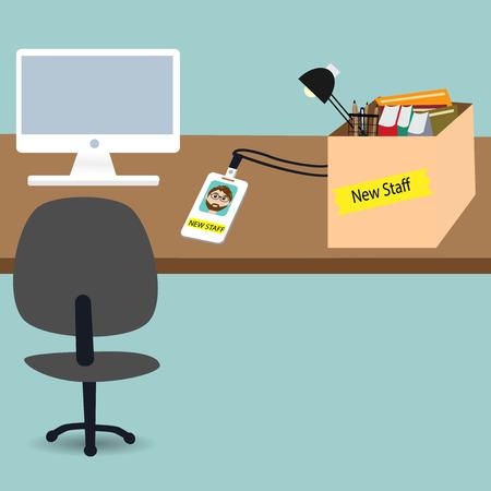 새로운 작업에 대한 사무실에서 신입 사원 스톡 콘텐츠 - 35260143