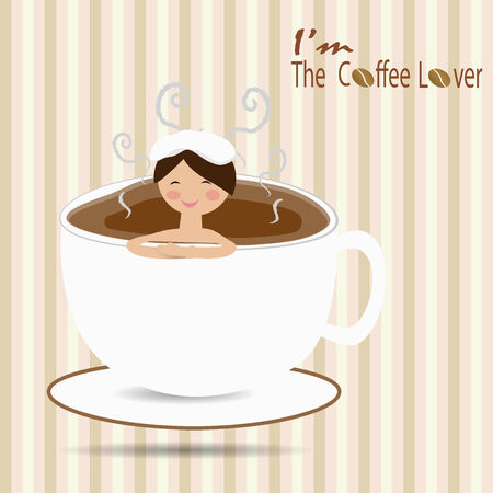 Female bathing in a cup of coffee like an onsen